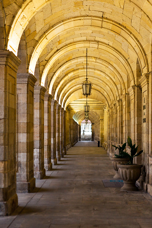SANTIAGO DE COMPOSTELA, SPAIN - 9th October 2017 - Line of arches architecture at the Town hall in Santiago de Compostela, Galicia, Spain,