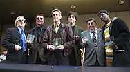 From left, Russell Faith, Fabian, Rob Hyman, Eric Bazilian, Kal Rudman, and DJ Jazzy Jeff are shown after receiving their plaques on Philadelphia's Walk of Fame, Friday, Nov. 17, 2000, in Philadelphia. (Photo by William Thomas Cain/photodx.com)