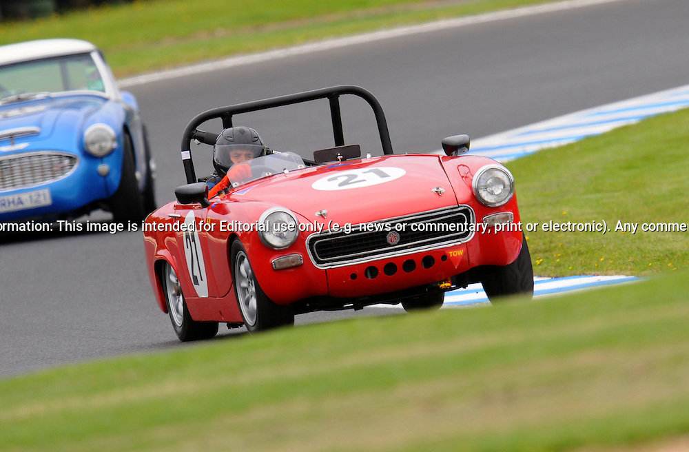 Lyndon Arnel - MG Midget.Historic Motorsport Racing - Phillip Island Classic.18th March 2011.Phillip Island Racetrack, Phillip Island, Victoria.(C) Joel Strickland Photographics.Use information: This image is intended for Editorial use only (e.g. news or commentary, print or electronic). Any commercial or promotional use requires additional clearance.