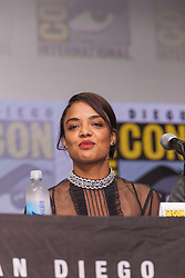 July 22, 2017 - San Diego, US - Day three in Hall H. .Marvel Studios President Kevin Feige giving Hall H fans a look at whatÃ•s coming up next in the Marvel Cinematic Universe.Kevin Feige took the stage for a panel to showcase the ever-expanding Marvel Cinematic Universe..Seen here: Actor Tessa Thompson from Marvel Studios Thor Ragnarok at the San Diego Comic-Con International 2017. (Credit Image: © Daren Fentiman via ZUMA Wire)