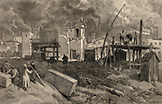 Nobel Brothers oil wells at Baku (Baky or Baki), Azerbaijan, on the Caspian Sea. Engraving from 'The Illustrated London News' (London, 3 July 1886).