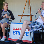 August 16, 2014, New Haven, CT:<br /> Alison Riske participates in a live chat on stage on day four of the 2014 Connecticut Open at the Yale University Tennis Center in New Haven, Connecticut Monday, August 18, 2014.<br /> (Photo by Billie Weiss/Connecticut Open)