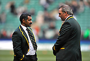 Twickenham, GREAT BRITAIN, left,  Head coach, Peter De VILLIERS in conversation with  Assistant Coach, Gary GOLD  before the Investec Challenge Series, England vs South Africa  [RSA],  Autumn Rugby International at Twickenham Stadium, Surrey on Sat 22.11.2008 [Photo, Peter Spurrier/Intersport-images]