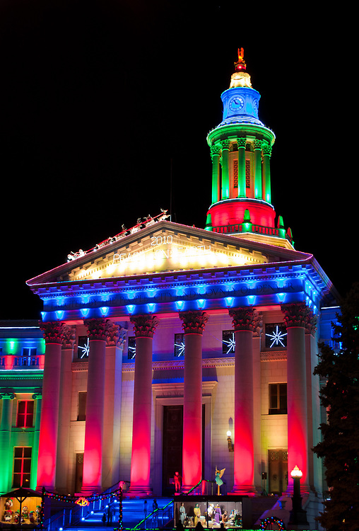 This picture shows the Denver City and County Building at Christmas in 2010.<br /> <br /> Camera <br /> NIKON D5000<br /> Lens <br /> 18.0-55.0 mm f/3.5-5.6<br /> Focal Length <br /> 35<br /> Shutter Speed <br /> 1/2<br /> Aperture <br /> 5<br /> ISO <br /> 200