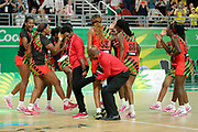 8th April 2018, Gold Coast, Gold Coast Convention and Exhibition Centre, Australia; Commonwealth Games day 4; Netball, Malawi versus New Zealand; Malawi players celebrate as they defeat New Zealand 57-53