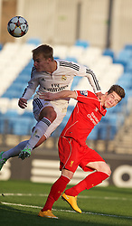 MADRID, SPAIN - Tuesday, November 4, 2014: Liverpool's Ryan Kent in action against Real Madrid CF during the UEFA Youth League Group B match at Ciudad Real Madrid. (Pic by David Rawcliffe/Propaganda)