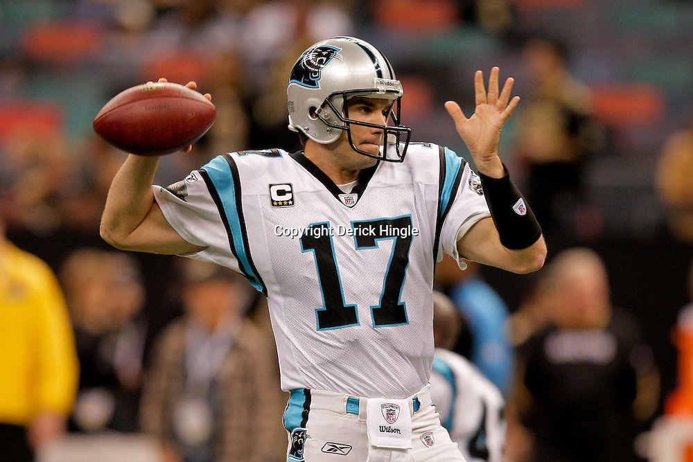 Nov 08, 2009; New Orleans, LA, USA; Carolina Panthers quarterback Jake Delhomme (17) throws in warm ups prior to kickoff against the New Orleans Saints at the Louisiana Superdome. Mandatory Credit: Derick E. Hingle