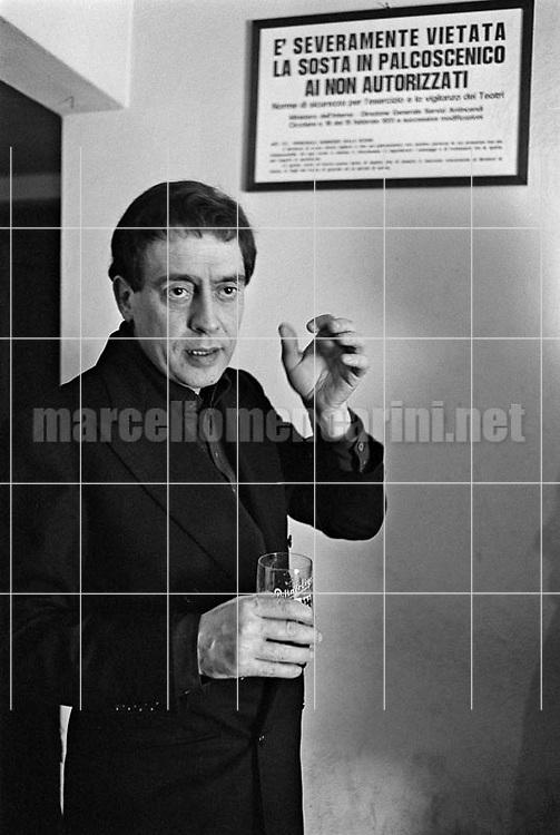 Rome, Quirino Theater, 1981. Stage director and actor Carmelo Bene / Roma, Teatro Quirino, 1981. Carmelo Bene, attore e regista teatrale - © Marcello Mencarini