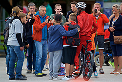 ROTTACH-EGERN, GERMANY - Friday, July 28, 2017: Liverpool's Georginio Wijnaldum poses for photographs with supporter after a training session at FC Rottach-Egern on day three of the preseason training camp in Germany. (Pic by David Rawcliffe/Propaganda)
