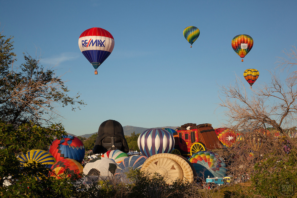 """Great Reno Balloon Race 9"" - Photograph of hot air balloons lifting off during the mass ascension at the 2012 Great Reno Balloon Race."