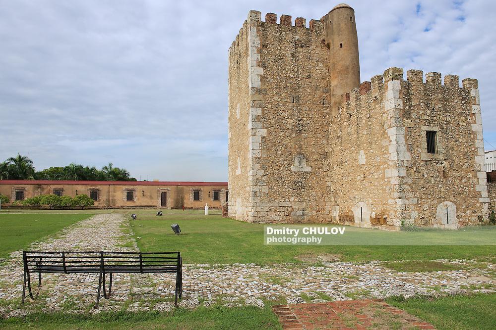 SANTO DOMINGO, DOMINICAN REPUBLIC - NOVEMBER 07, 2012: View to the Ozama Fortress in Santo Domingo, Dominican Republic. UNESCO World Heritage site.