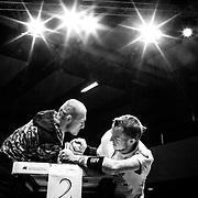 20.09.2014, Litauen, Vilnius, LITEXPO Kongress Center, Weltmeisterschaft im Armwrestling. Vereinskollege Fabian T&auml;ger (li) und Matthias Schlitte (re) trainiern am Tisch unter reelen Bedingungen.<br /><br />09.20.2014 , Lithuania , Vilnius, LITEXPO Congress Center , World Armwrestling Championships. Team-mate Fabian T&auml;ger (left ) and Matthias Schlitte ( re) trainiern at table under reel conditions.<br /><br />&copy;2014 Harald Krieg / Agentur Focus
