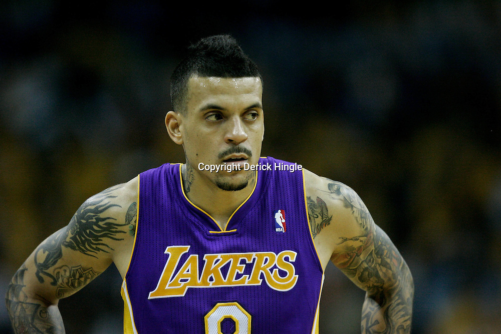 April 22, 2011; New Orleans, LA, USA; Los Angeles Lakers small forward Matt Barnes (9) and New Orleans Hornets during the first half in game three of the first round of the 2011 NBA playoffs at the New Orleans Arena. The Lakers defeated the Hornets 100-86.   Mandatory Credit: Derick E. Hingle