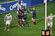 Waisea Nayacalevu Vuidravuwalu (Stade Francais) scored a try, celebration with Djibril Camara (Stade Francais), Arthur Coville (Stade Francais Paris), Jules Plisson (Stade Francais) during the French championship Top 14 Rugby Union match between Stade Francais Paris and Union Bordeaux-Begles on December 30, 2017 at Jean Bouin stadium in Paris, France - Photo Stephane Allaman / ProSportsImages / DPPI