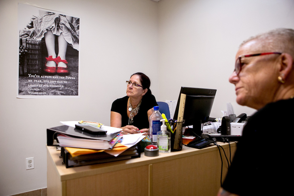 BROOKLYN, NY - JUNE 30, 2016: Connie Pentony-Brown and Donna Mae DePola, founder of The Resource Training Center, work at the counseling center in Bay Ridge, Brooklyn, New York. CREDIT: Sam Hodgson for The New York Times.