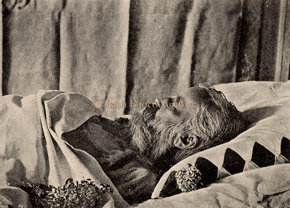 Johannes Brahms (1833-1897) German composer, on his deathbed.  From a photograph. Halftone.