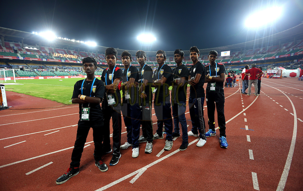 Ball boys before the start of the match 50 of the Hero Indian Super League between Chennaiyin FC and FC Goa held at the Jawaharlal Nehru Stadium, Chennai, India on the 5th December 2014.<br /> <br /> Photo by:  Sandeep Shetty/ ISL/ SPORTZPICS