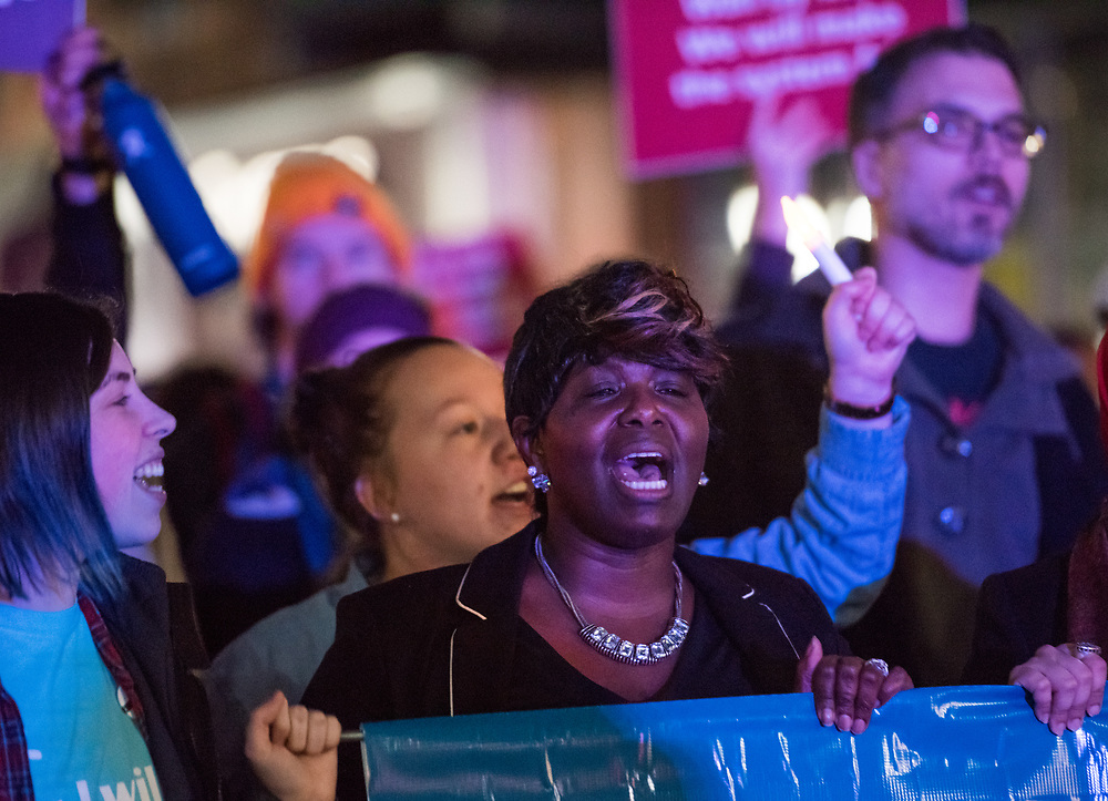 """Members of the Ohio University campus and community participate in the annual """"Take Back the Night"""" march on Thursday April 5th, 2018. The march concluded the two days of events that focused on the survivors of sexual domestic violence."""