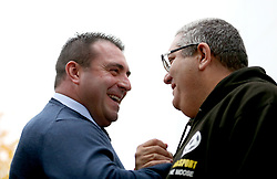 Everton caretaker manager David Unsworth (left) speaks with Talksport's Ian 'The Moose' Abrahams before the Premier League match at Selhurst Park, London.