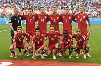 (180616) -- SARANSK, June 16, 2018 -- Players of Denmark pose for a group photo prior to a group C match between Peru and Denmark at the 2018 FIFA World Cup WM Weltmeisterschaft Fussball in Saransk, Russia, June 16, 2018. ) (SP)RUSSIA-SARANSK-2018 WORLD CUP-GROUP C-PERU VS DENMARK HexCanling PUBLICATIONxNOTxINxCHN