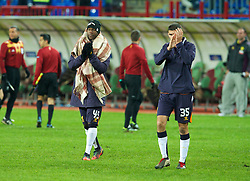 MOSCOW, RUSSIA - Thursday, November 8, 2012: Liverpool's Stephen Sama and Conor Coady applaud the travelling supporters after his side's 1-0 defeat to FC Anji Makhachkala during the UEFA Europa League Group A match at the Lokomotiv Stadium. (Pic by David Rawcliffe/Propaganda)