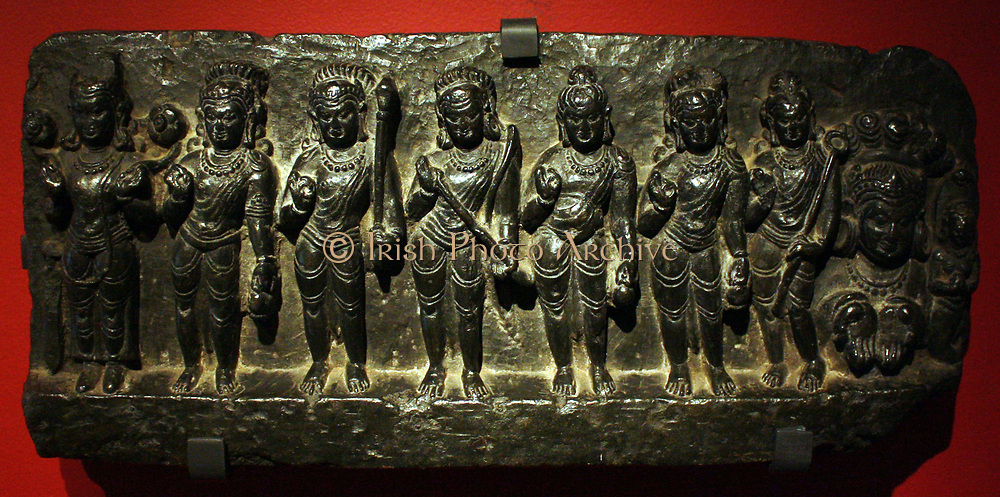 The planetary deities.  Stone, Eastern India, 1000-1200. Images of the nine planetary deities (navagraha) often appear on the door lintels of north Indian temples, to protect the shrine and its visitors from evil influences.  The deities comprise the Sun, Moon, Mercury, Venus, Mars, Jupiter and Saturn, as well as Rahu and Ketu who control the solar and lunar eclipses.