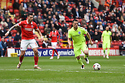 Brighton central midfielder, Beram Kayal (7) lays the ball off for Brighton striker Jiri Skalak (38) to score (1-2) during the Sky Bet Championship match between Charlton Athletic and Brighton and Hove Albion at The Valley, London, England on 23 April 2016. Photo by David Charbit.