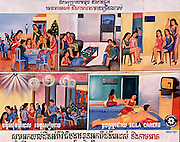 Siem Reap, Cambodia. Billboard showing various types of Cambodia's sex industry<br />
