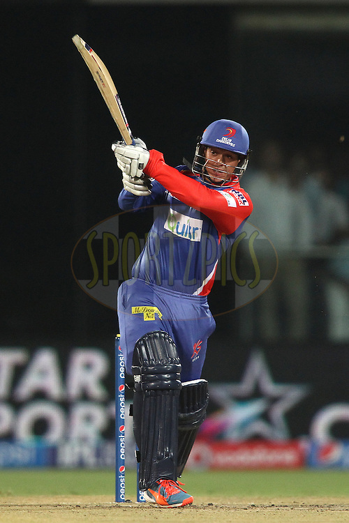 Quinton de Kock of the Delhi Daredevils pulls a delivery during match 26 of the Pepsi Indian Premier League Season 2014 between the Delhi Daredevils and the Chennai Super Kings held at the Feroze Shah Kotla cricket stadium, Delhi, India on the 5th May  2014<br /> <br /> Photo by Shaun Roy / IPL / SPORTZPICS<br /> <br /> <br /> <br /> Image use subject to terms and conditions which can be found here:  http://sportzpics.photoshelter.com/gallery/Pepsi-IPL-Image-terms-and-conditions/G00004VW1IVJ.gB0/C0000TScjhBM6ikg