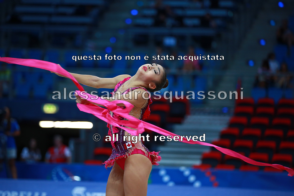 Katherine Uchida is a canadian individual rhythmic gymnast, was born in Markham 1999.  Katherine finished her first participation at a World Championship of Pesaro in 57rd place.