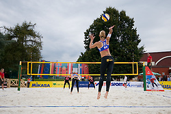 Martina Jakob of Slovenia serve at CEV European Continental Beach Volleyball Cup for Olympic Qualification, on September 4, 2010, in Zrece, Slovenia. (Photo by Matic Klansek Velej / Sportida)