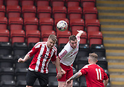 Kevin Robertson battles in the air - Dundee Argyle v Dykehead AFC in the Scottish Sunday Trophy semi final at Excelsior Stadium, Airdrie, Photo: David Young<br /> <br />  - © David Young - www.davidyoungphoto.co.uk - email: davidyoungphoto@gmail.com