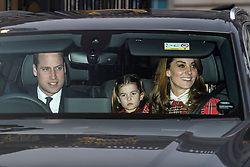 © Licensed to London News Pictures. 18/12/2019. London, UK. PRINCE WILLIAM, DUKE OF CAMBRIDGE, PRINCESS CHARLOTTE and CATHERINE DUCHESS OF CAMBRIDGE . Members of the Royal Family seen leaving Buckingham Palace in West London after attending the Queen's annual Christmas lunch. Photo credit: Ben Cawthra/LNP