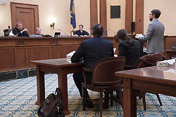 December 9, 2016 - Salem, Oregon, U.S - A three judge panel listens to testimony during a hearing before the  Oregon Court of Appeals in Salem. Plaintiff KELSEY JULIANA filed suit against Oregon Gov. Kate Brown and the state of Oregon for violating her constitutional and public trust rights. The case is seeking a court order to compel the state to take science-based action to address the climate crisis and prevent catastrophic and irreversible impacts. Juliana is also a plaintiff in the landmark federal lawsuit suing the federal government over climate change. (Credit Image: © Robin Loznak via ZUMA Wire)