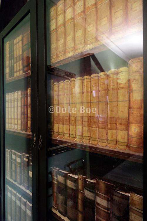 glass doors and closet shelfs with books