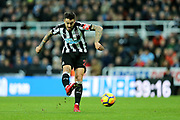 Joselu (#21) of Newcastle United hits a shot from distance during the Premier League match between Newcastle United and Brighton and Hove Albion at St. James's Park, Newcastle, England on 30 December 2017. Photo by Craig Doyle.