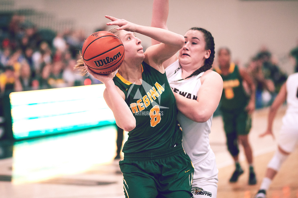 2nd year forward, Macaela Crone (8) of the Regina Cougars during the Women's Basketball Home Game on Sat Dec 01 at Centre for Kinesiology,Health and Sport. Credit: Arthur Ward/Arthur Images