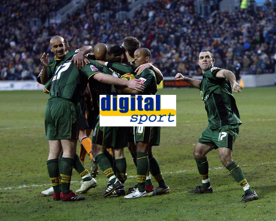 Photo: Andrew Unwin.<br />Hull v Norwich City. Coca Cola Championship. 11/02/2006.<br />Norwich mob Gary Doherty after he equalises late in the game.