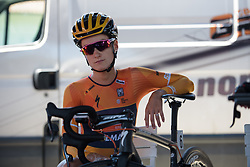 Lizzie Deignan waits for her start time on Stage 5 of the Giro Rosa - a 12.7 km individual time trial, starting and finishing in Sant'Elpido A Mare on July 4, 2017, in Fermo, Italy. (Photo by Sean Robinson/Velofocus.com)