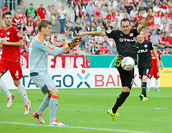 09.08.2015, Stadion Essen, Essen, GER, DFB Pokal, Rot Weiss Essen vs Fortuna Duesseldorf, 1. Runde, im Bild v. li. im Zweikampf Robin Heller (Essen) und Michael Liendl (Duesseldorf) // during German DFB Pokal first round match between Rot Weiss Essen and Fortuna Duesseldorf at the Stadion Essen in Essen, Germany on 2015/08/09. EXPA Pictures © 2015, PhotoCredit: EXPA/ Eibner-Pressefoto/ Hommes<br /> <br /> *****ATTENTION - OUT of GER*****