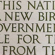"Close-up detail of part of the Gettysburg that is etched ino the wall of the Lincoln Memorial in Washington DC. The shot is focused on the word ""Government"" that forms the famous quote: ""government of the people, by the people, for the people, shall not perish from the earth."""