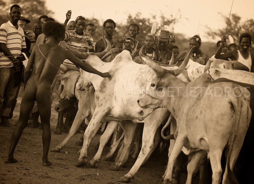 The most significant ceremony for young men is the jumping of the bull the final test before passing in to adulthood.