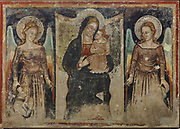 Virgin and child with angels and worshippers, fresco painted 1341-47, by Puccio Capanna, originally in the  Oratory of St Rufinuccio Fraternity and detached in 1955 (the sinopia still remain), now in the Confraternity Room of the Assisi Diocesan Museum, or Museo Diocesano e Cripta di San Rufino, Assisi, Umbria, Italy. The museum was founded in 1941 by bishop Giuseppe Placido Niccolini under the Cathedral Piazza to preserve works of art from Assisi's collections. Picture by Manuel Cohen