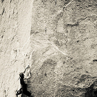 Drew Bedford climbing unnamed 5.13, Little Cottonwood Canyon, Utah