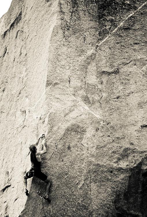 Drew Bedford climbing unnamed 5.13, Little Cottonwood Canyon, Utah