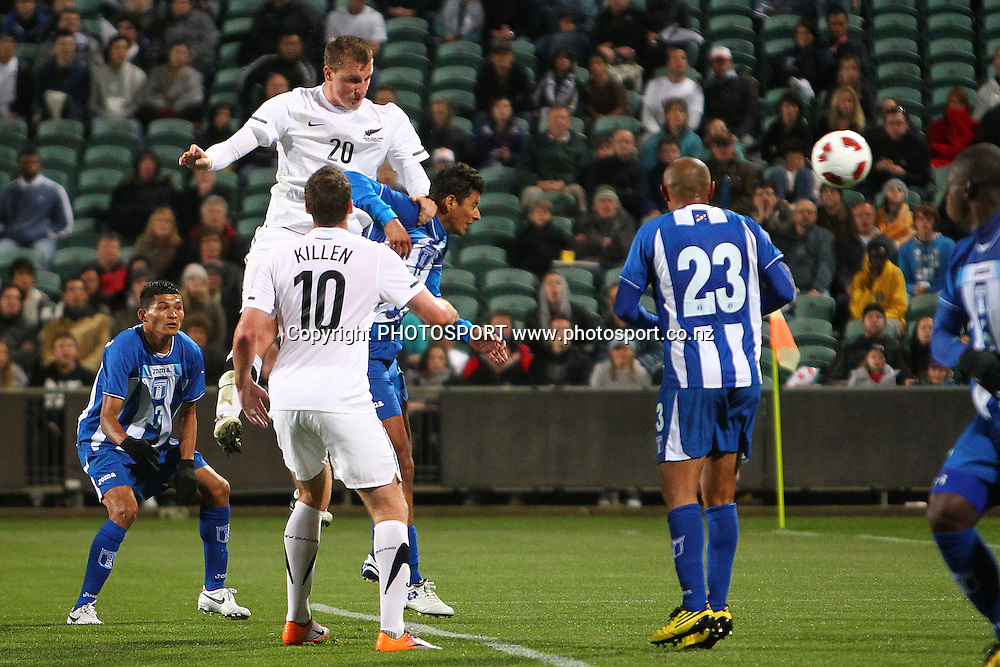 All Whites' Chris Wood heads in the opening goal. International Football match, All Whites v Honduras at North Harbour Stadium, Albany, Auckland, New Zealand. Saturday 9th October 2010. Photo: Anthony Au-Yeung / photosport.co.nz