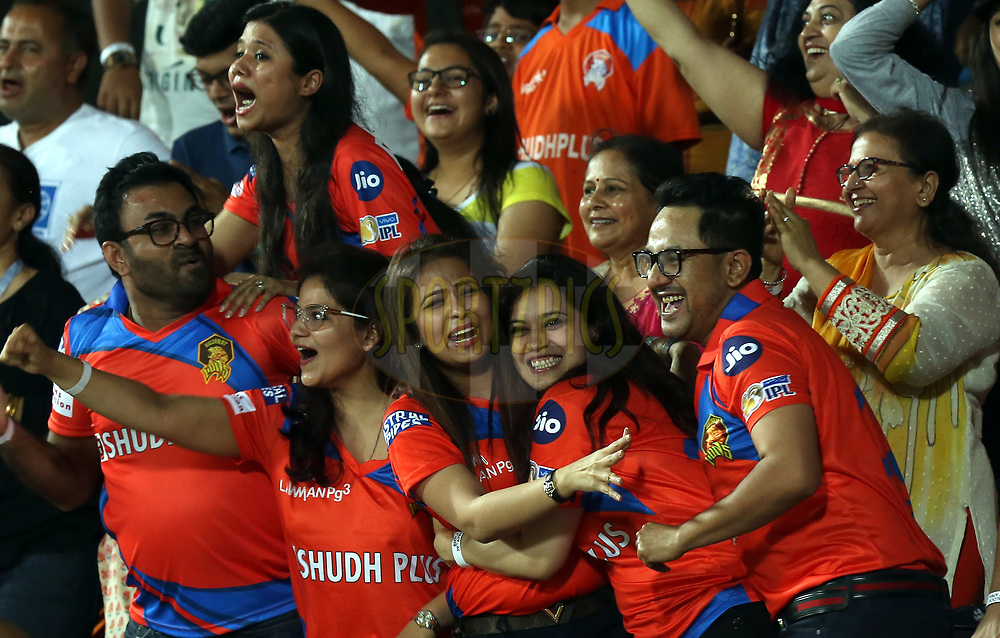 Fans enjoy during match 35 of the Vivo 2017 Indian Premier League between the Gujarat Lions and the Mumbai Indians  held at the Saurashtra Cricket Association Stadium in Rajkot, India on the 29th April 2017<br /> <br /> Photo by Sandeep Shetty - Sportzpics - IPL