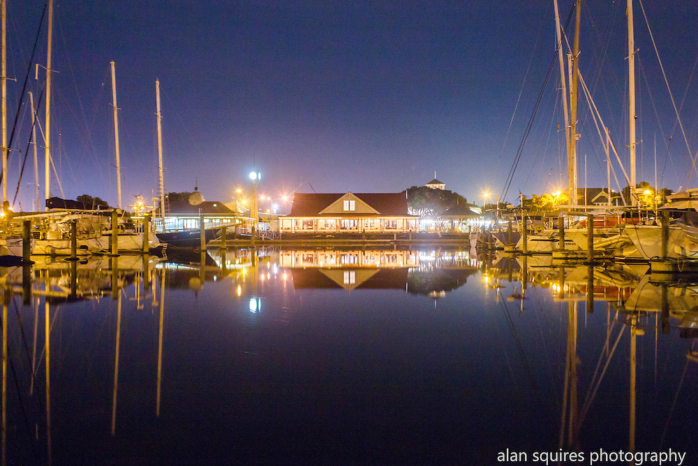 town basin at night, whangarei