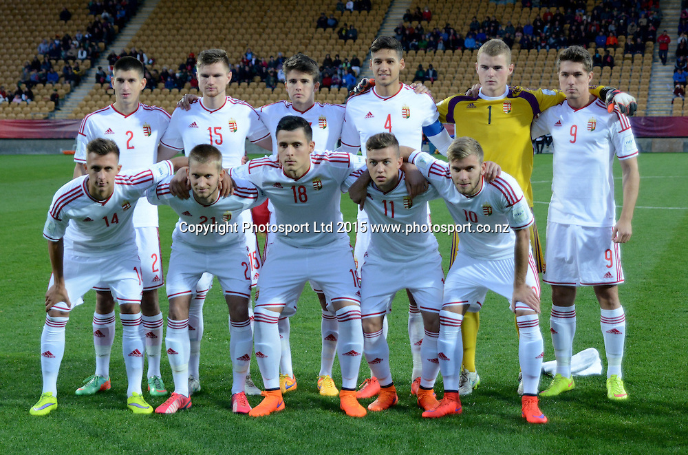 Team Hungary FIFA U-20 World Cup New Zealand. Hungary vs Nigeria, played at Stadium Taranaki, New Plymouth NZ, Sunday 7th June 2015.  <br />  Photo John Velvin / ESPNZ