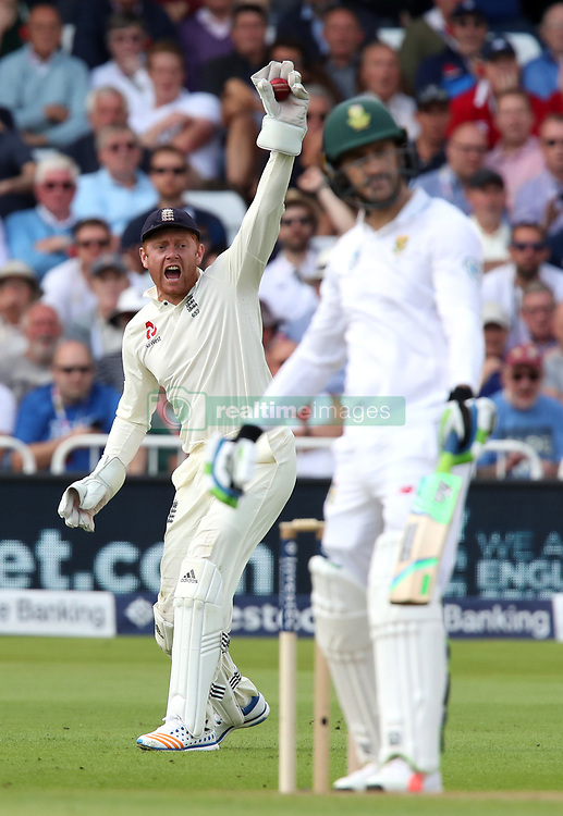 England's Jonny Bairstow celebrates catching out South Africa's Faf du Plessis off the bowling of Ben Stokes during day one of the Second Investec Test match at Trent Bridge, Nottingham.